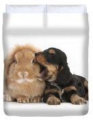 Cockerpoo Pup And Lionhead-lop Rabbit Duvet Cover