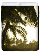 Coconut Palm Trees On The Coast Duvet Cover