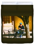 Coffee At The Outdoor Cafe Duvet Cover