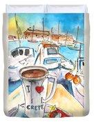 Coffee Break In Heraklion In Crete Duvet Cover
