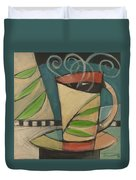 Coffee Cup With Leaves Duvet Cover