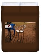 Coffee Cups Along With Chairs And Tables In A Quiet Location At Sunset Duvet Cover