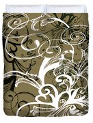 Coffee Flowers 1 Olive Duvet Cover