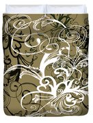 Coffee Flowers 1 Olive Scrapbook Duvet Cover