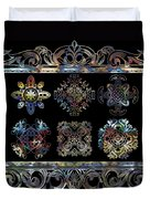 Coffee Flowers Ornate Medallions 6 Piece Collage Aurora Borealis Duvet Cover