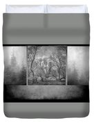 Collage Misty Trees Duvet Cover