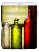Collector - Bottles - Still Life Of Three Bottles  Duvet Cover