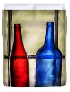 Collector - Bottles - Two Empty Wine Bottles  Duvet Cover