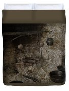 Colonial Fireplace Cooking Arrangement Duvet Cover