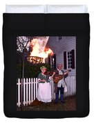 Colonial Musicians By Firelight Duvet Cover
