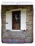 Colonial Shutters Window Frame Stone Wall Wood Box Duvet Cover