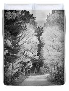 Colorado Rocky Mountain Aspen Road Portrait Bw Duvet Cover