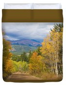 Colorado Rocky Mountain Autumn Scenic Drive Duvet Cover