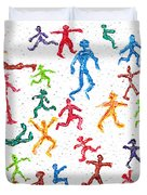 Colorful Acrylic Stickmen Characters Duvet Cover