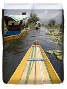 Colorful Boats On Dal Lake Dal Lake Duvet Cover