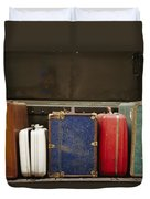 Colorful But Worn Luggage Awaits Duvet Cover