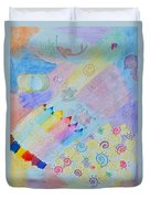 Colorful Doodling Original Art Duvet Cover