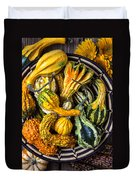 Colorful Gourds In Basket Duvet Cover