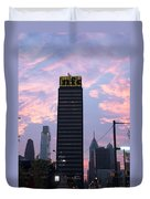 Colorful Morning Sky In Philly Duvet Cover