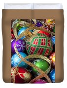 Colorful Ornaments With Ribbon Duvet Cover