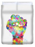 Colorful Painting Of Hand Duvet Cover