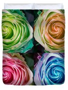 Colorful Rose Spirals Duvet Cover