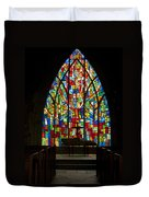 Colorful Stained Glass Chapel Window Duvet Cover