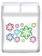 Coloured Snowflakes Isolated Duvet Cover