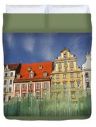 Colourful Buildings And Fountain Duvet Cover