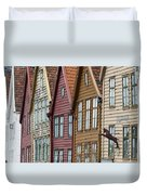 Colourful Houses In A Row Bergen Norway Duvet Cover