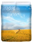 Combine Harvesting A Wheat Field Duvet Cover