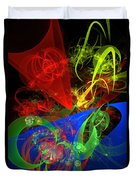 Computer Generated Blue Red Green Abstract Fractal Flame Modern Art Duvet Cover