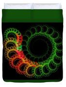 Computer Generated Green Red Abstract Fractal Flame Modern Art Duvet Cover