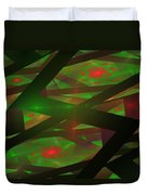 Computer Generated Green Triangles Abstract Fractal Flame Abstract Art Duvet Cover