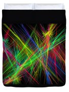 Computer Generated Lines Abstract Fractal Flame Black Background Duvet Cover