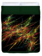 Computer Generated Red Green Abstract Fractal Flame Black Background Duvet Cover