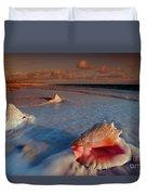 Conch Shell On Beach Duvet Cover