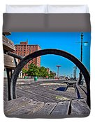 Coney Island Bench View Duvet Cover