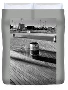Coney Island Boardwalk In Black And White Duvet Cover