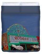 Coney Island Facades Duvet Cover