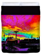 Coney Island In Neon B Flat Minor Duvet Cover