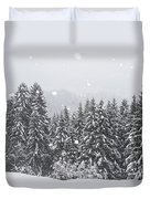 Coniferous Forest In Winter, Alps Duvet Cover by Konrad Wothe