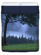 Coniferous Trees Early In The Morning Duvet Cover