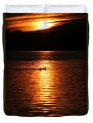 Coots In The Sunset Duvet Cover
