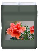 Coral Hibiscus Duvet Cover