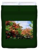 Coral Shower Trees Duvet Cover