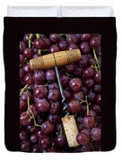 Corkscrew And Wine Cork On Red Grapes Duvet Cover