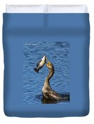 Cormorant Catches Catfish Duvet Cover