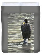 Cormorant Portrait In Shallow Water Duvet Cover