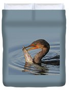 Cormorant With Large Fish Duvet Cover